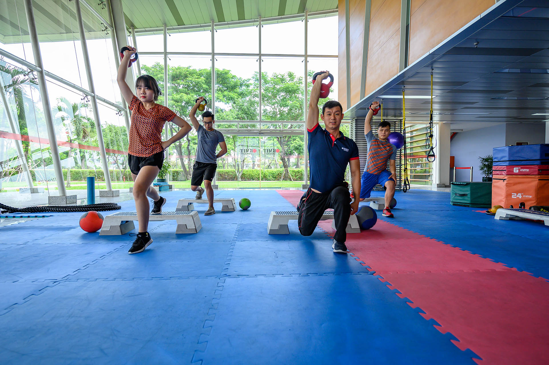 sgs students exercise in rec area